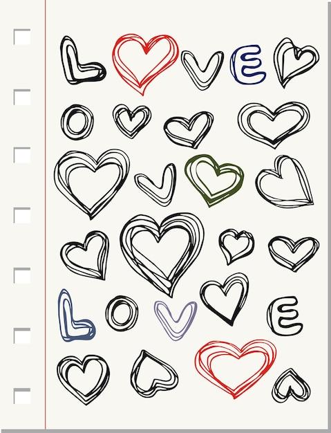 Doodle Herzen Muster | Download der Premium Vektor