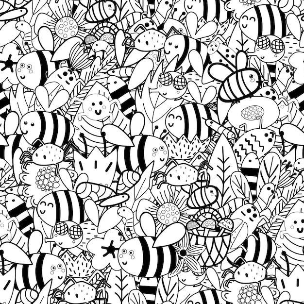 Doodle insekten schwarz und weiß nahtlose muster - bienen, fliegen, käfer, spinnen, würmer, blätter, blumen. Premium Vektoren