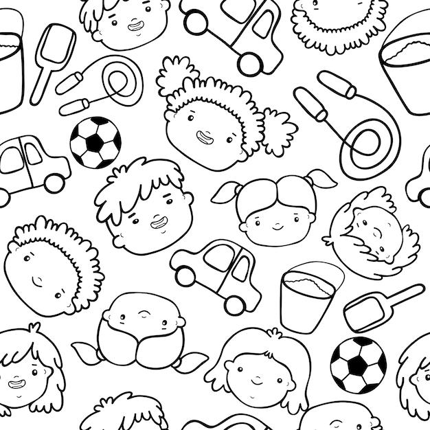 Doodle kids gesichter muster Kostenlosen Vektoren