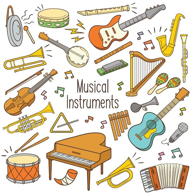 Doodle musikinstrumente Premium Vektoren