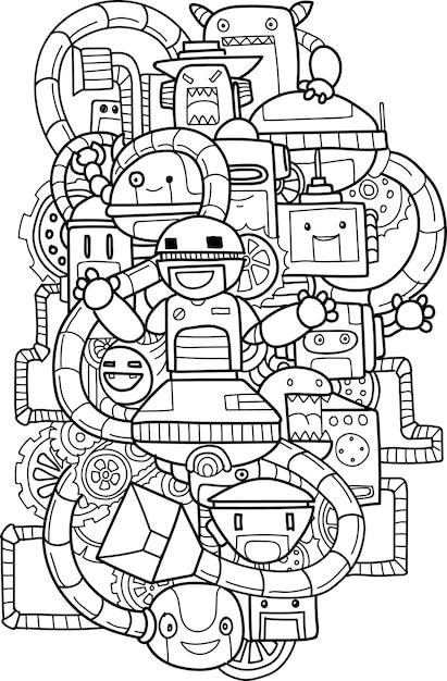 Doodle niedlichen roboterelement Premium Vektoren