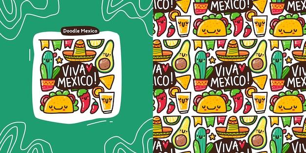 Doodle-sammlungssatz aus mexiko-element und nahtlosem muster Premium Vektoren