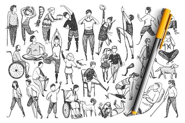 Doodle-set für behinderte. Premium Vektoren