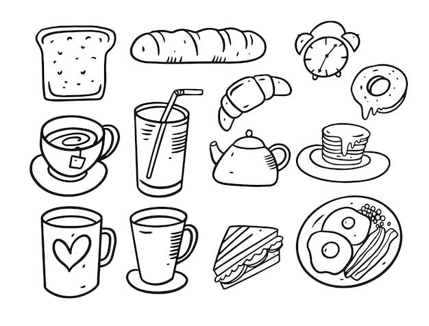 Doodle-set für frühstückselemente. hand gezeichnete illustration. schwarzer linienstil. auf weißem hintergrund isoliert. Premium Vektoren