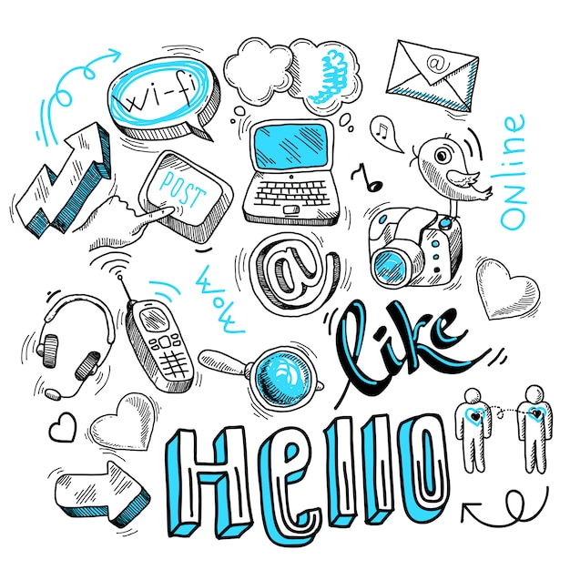 Doodle social media zeichen Kostenlosen Vektoren