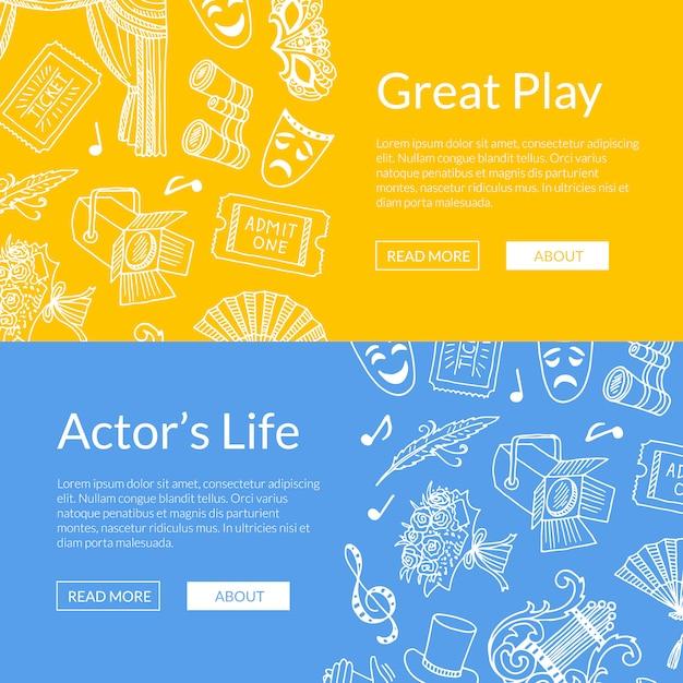 Doodle theater elemente satz von web-banner große spiel illustration Premium Vektoren