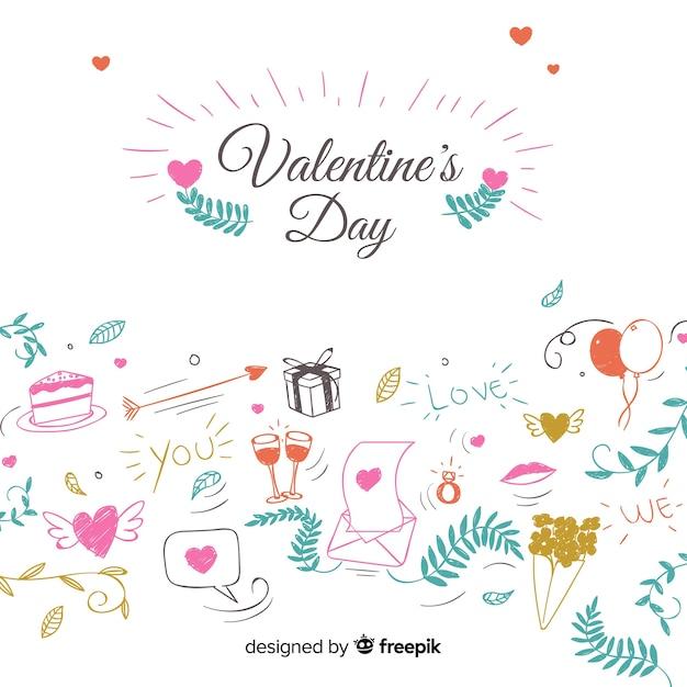 Doodle valentine elemente hintergrund Kostenlosen Vektoren