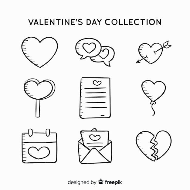 Doodle valentine label-auflistung Kostenlosen Vektoren