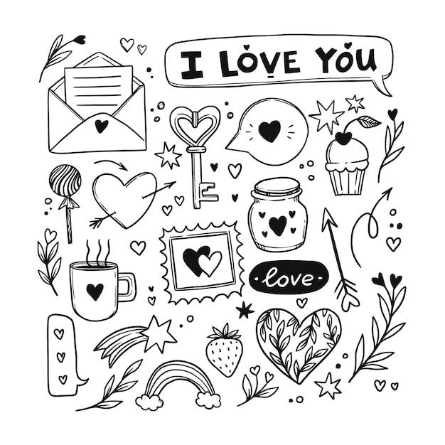 Doodle valentinstag element sammlung Kostenlosen Vektoren