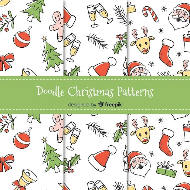 Doodle weihnachten muster sammlung Kostenlosen Vektoren