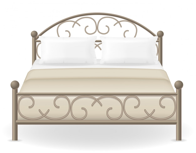 Doppelbettmöbel-vektor-illustration Premium Vektoren