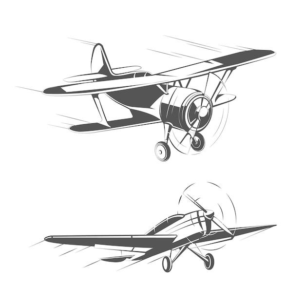 Doppeldecker- und eindeckerflugzeuge für vintage-embleme, abzeichen und logos vektorsatz. luftfahrt flugzeug transport illustration Kostenlosen Vektoren