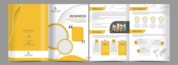 Doppelseiten des business-faltbroschüren-designs in gelber und weißer farbe. Premium Vektoren