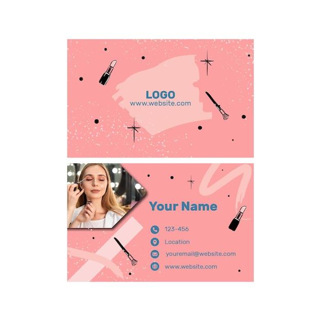 Doppelseitige horizontale visitenkarte des schönheitssalons Premium Vektoren