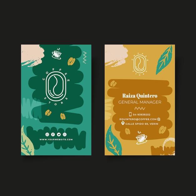Doppelseitige vertikale visitenkartenschablone des kaffees Premium Vektoren