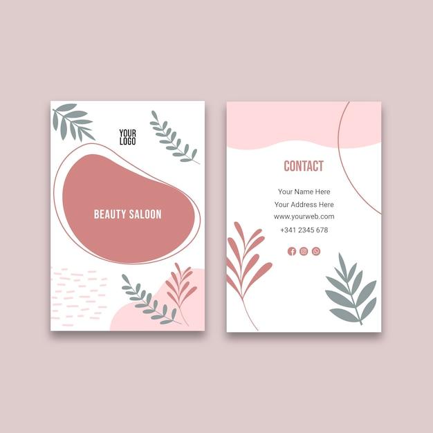 Doppelseitige visitenkarte des schönheitssalons v Kostenlosen Vektoren