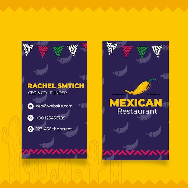 Doppelseitige visitenkarte für mexikanisches essen Premium Vektoren