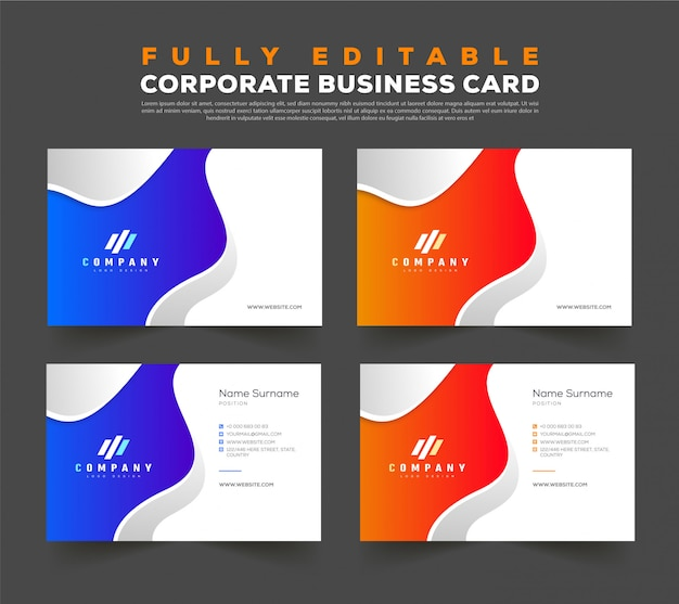 Doppelseitige visitenkarten-entwurfsvorlage vorne und hinten Premium Vektoren