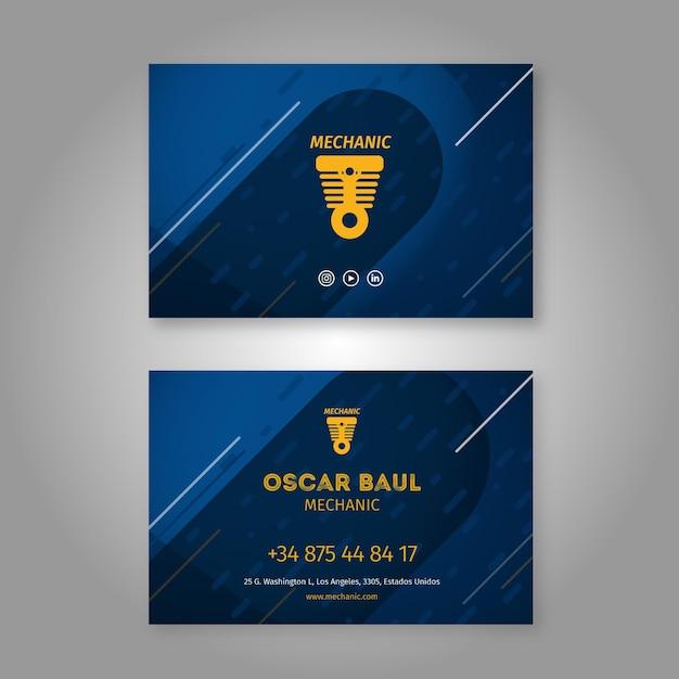 Doppelseitiger horizontaler visitenkartenmechaniker Premium Vektoren