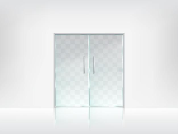 Doppelte glastür transparente vektor vorlage Kostenlosen Vektoren