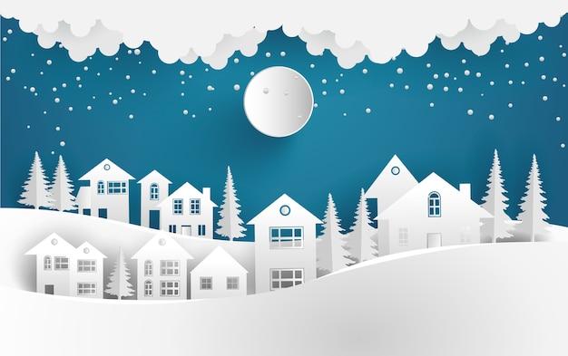 Dorf Im Winter Landschaft Hintergrund Download Der