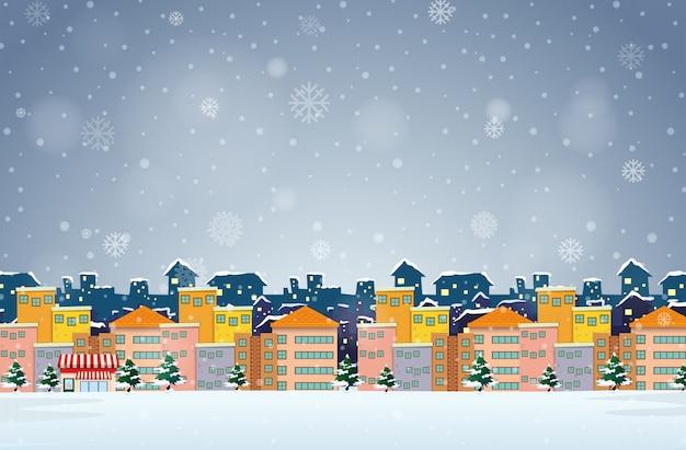 Dorf im winterhintergrund Premium Vektoren