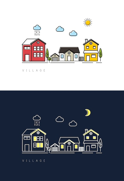 Dorf tag zu nacht Kostenlosen Vektoren