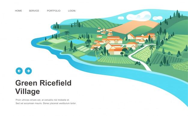 Dorflandschaft mit häusern, reisfeld, berg und fluss gestalten vektorillustration landschaftlich Premium Vektoren