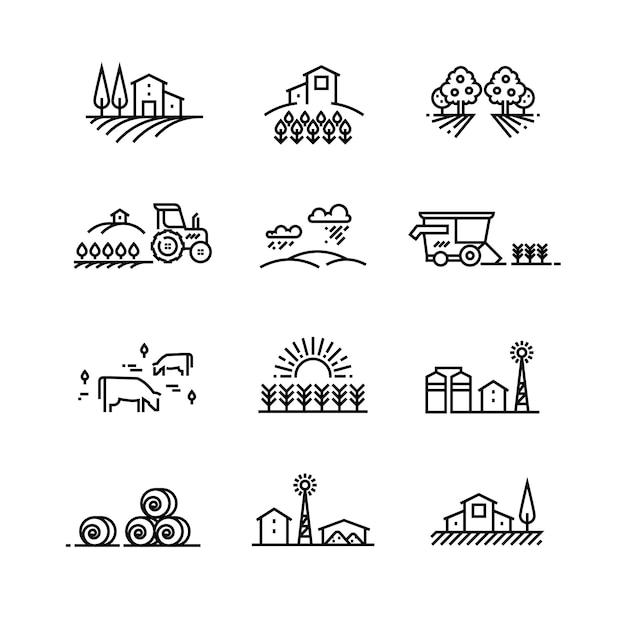 Dorflinienlandschaften mit landwirtschaftlichem feld und landwirtschaftlichen gebäuden. lineare landwirtschaft vektorkonzepte Premium Vektoren