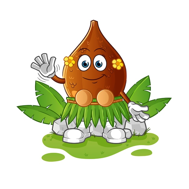Dornige palme hawaii winkenden charakter Premium Vektoren