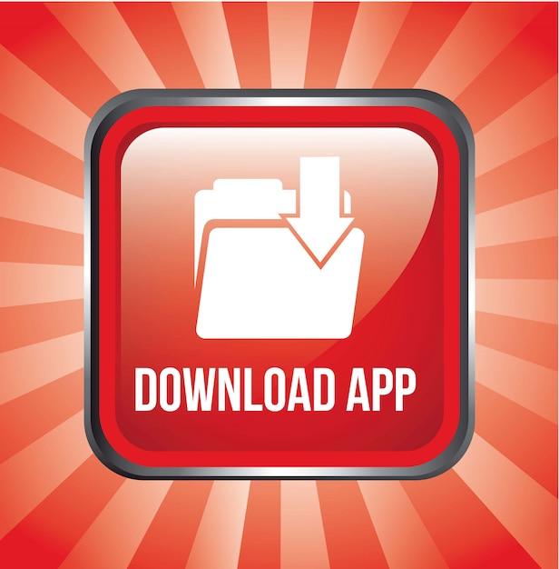 Download-app-knopf über roter hintergrundvektorillustration Premium Vektoren