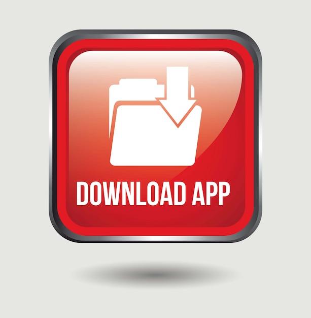 Download-app-knopf über weißer hintergrundvektorillustration Premium Vektoren