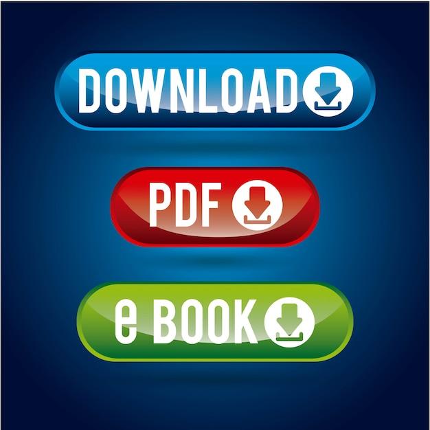 Downloaddesign über blauer hintergrundvektorillustration Premium Vektoren