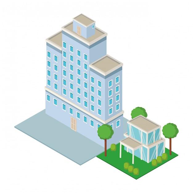 Downtown und hausbau isometrisch Premium Vektoren