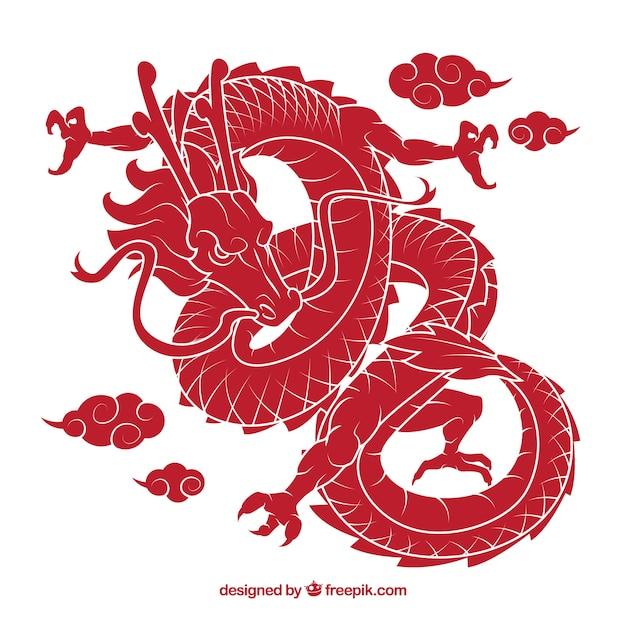 Drache des traditionellen chinesen mit schattenbilddesign Kostenlosen Vektoren