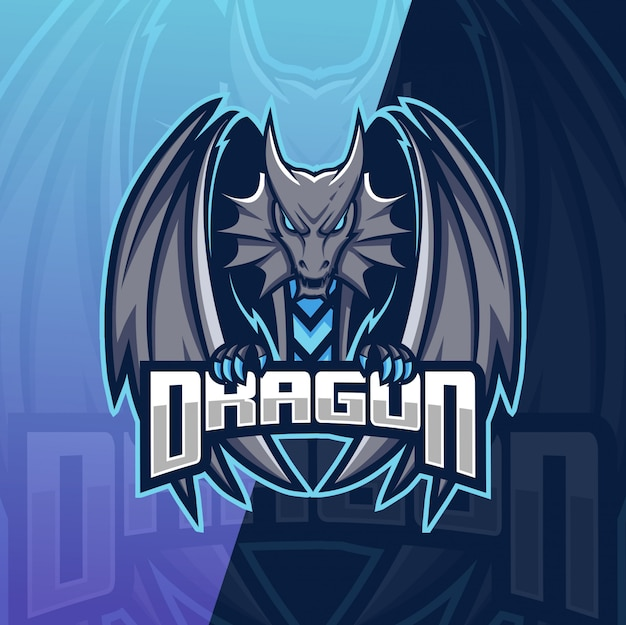 Drachen maskottchen esport logo Premium Vektoren