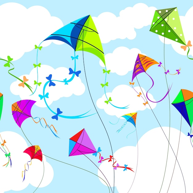 Drachen und himmel mit horizontalen nahtlosen wolkenmuster. spielzeug und spiel, wind und spiel, himmel und freiheit Kostenlosen Vektoren