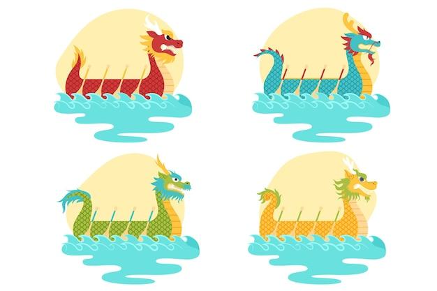 Drachenboote zongzi pack konzept Kostenlosen Vektoren