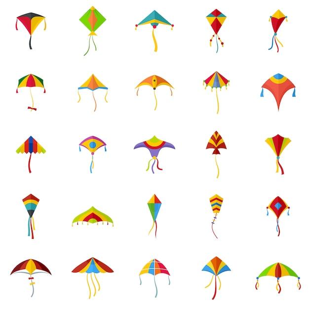 Drachenfliegen festival surf icons set Premium Vektoren