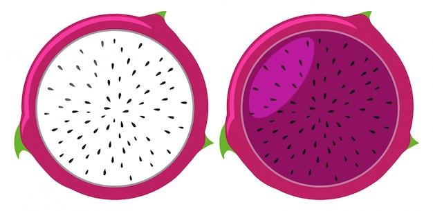 Drachenfrüchte in weißer und rosa farbe Premium Vektoren