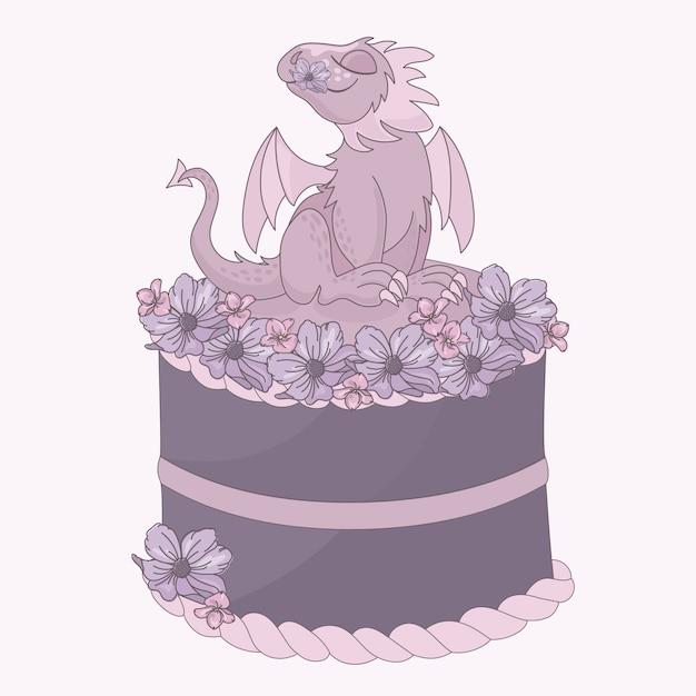 Drachenkuchen geburtstagsfeier-cartoon Premium Vektoren