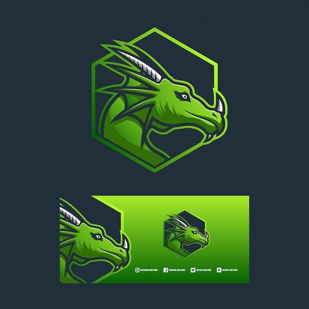 Drachenlogo design illustration konzept Premium Vektoren