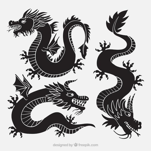 Drachensammlung in schwarzer farbe Kostenlosen Vektoren
