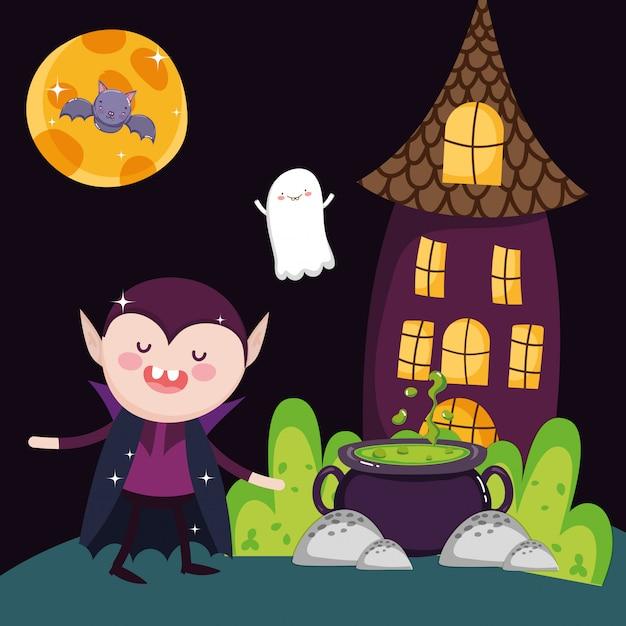 Dracula-kesselhaus und geist halloween Premium Vektoren
