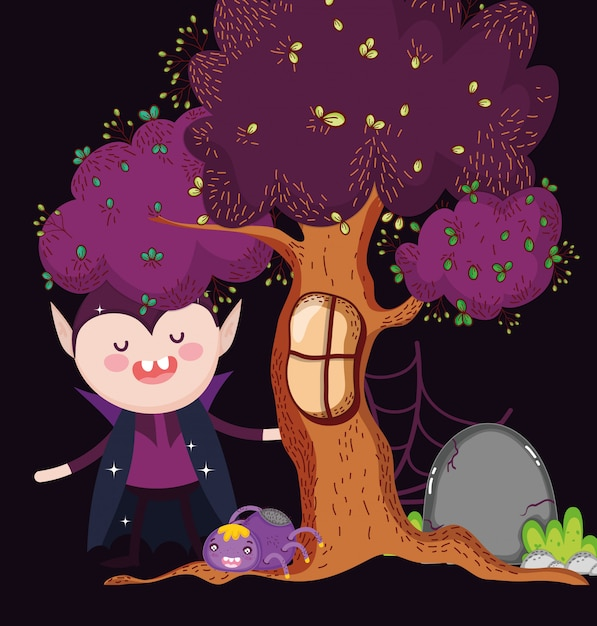 Dracula mit spinnenbaum halloween Premium Vektoren