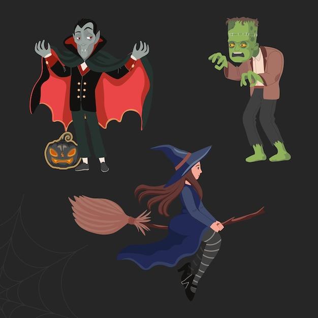 Dracula oder vampir, eine hexe auf einem besenstiel und ein grünes gruseliges monster - frankenstein. glücklicher halloween-vektor Premium Vektoren