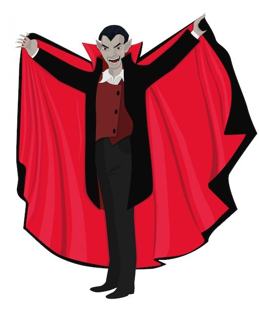 Dracula öffnete den umhang. illustration lokalisiert auf weißem hintergrund. Premium Vektoren