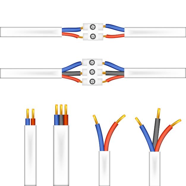 Drähte und adapter, stecker auf weißem hintergrund Premium Vektoren