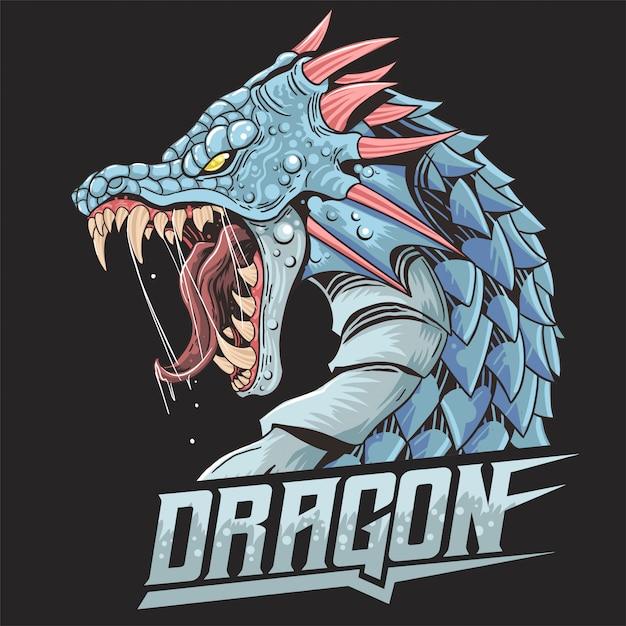 Dragon beast wild angry head Premium Vektoren