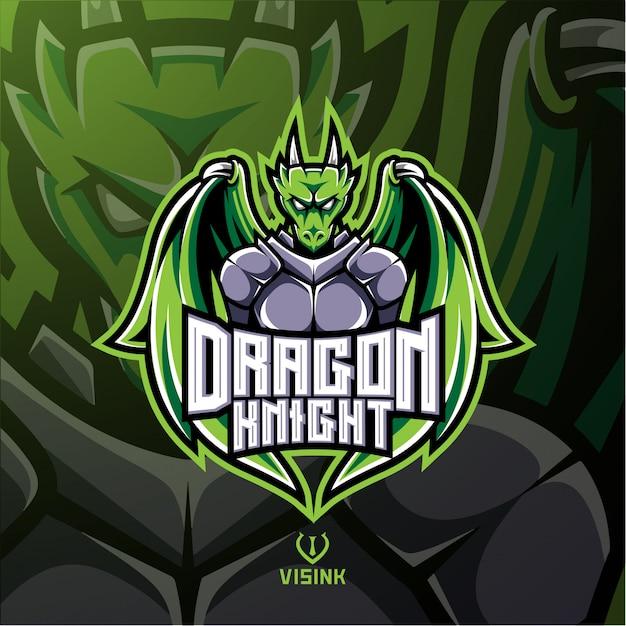 Dragon knight maskottchen-logo Premium Vektoren